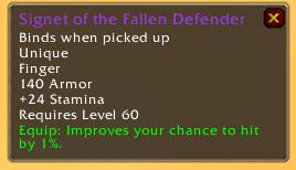 Signet of the Fallen Defender
